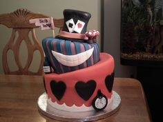mad hatter cake...like the simplistic representation of each character. And the sign
