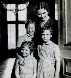 Danish royals...Queen Ingrid with daughters Margrethe, Benedikte and Anne-Marie c1951