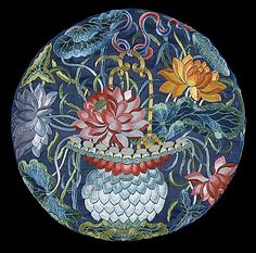 China, Han ethnicity  Roundel with Lotus Basket, late Qing dynasty, circa 1800-1911  Textile, Silk embroidery on silk satin, Diameter: 11 1/2 in. (29.21 cm)