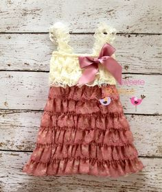 Ivory rose dress, Lace dress, baby girl outfit, infant outfit, photo prop, special occasion dress, toddler dress, girls dress,. $24.95, via Etsy.
