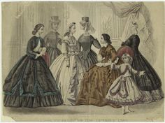Fashion plate. In the Swan's Shadow: Some Images to Pass the Time...Godey's Lady's Book Fashions for October 1864.