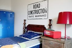 Fun, eclectic, vintage boys room.  I've been trying to buy old signs for my 15-year-old son's room, but he refuses ANY type of art on his walls!