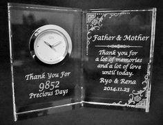 結婚式ご両親への置時計の贈り物【オプティカルグラスクロック】③