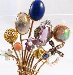 Gold stick pin bouquet handmade brooch