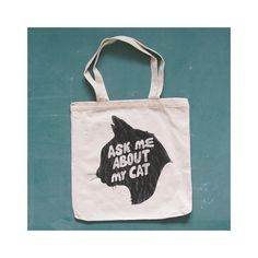 ASK ME ABOUT My Cat canvas tote. kitty. natural.. $14.00, via Etsy.