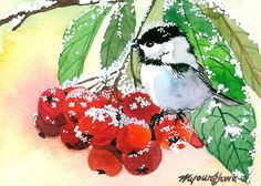 ACEO Limited Edition 7/25- Morning guest, Art print of an original ACEO watercolor, Gift idea for bird lovers, Birthday gift, Chickadee art