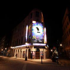 The Cambridge Theatre at night Mercer Street, West End, London Travel, Cambridge, Theatre, Entrance, Art Deco, Night, Building