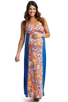 129f82051130 PinkBlush Maternity Floral Colorblock Maxi Dress - As if those colors  didn't catch our