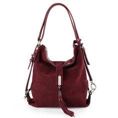 Women Real Split Suede Leather Shoulder Leisure Casual Handbag Hobo Messenger Top-handle Bags #HoboBags