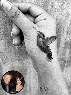 "Zelda Williams Honors Late ""Poppa"" Robin Williams With Hummingbird, Birthdate Ta. - Zelda Williams Honors Late ""Poppa"" Robin Williams With Hummingbird, Birthdate Tattoos - Hand Tattoos, New Tattoos, Body Art Tattoos, Small Tattoos, Tatoos, Thumb Tattoos, Arrow Tattoos, Temporary Tattoos, Robin Williams"