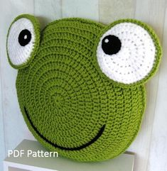 Frog Pillow - Cushion CROCHET PATTERN - crochet patterns for animal pillows - Kids Birthday present - Baby shower nursery gift Frog Pillow Cushion CROCHET PATTERN crochet patterns Simple Double Knitting Projects - Ideal Me projects scarves 10 Simp Crochet Animal Amigurumi, Bag Crochet, Crochet Pillow Pattern, Crochet Cushions, Crochet Animals, Crochet Dolls, Crochet Baby, Kids Birthday Presents, Knitting Patterns