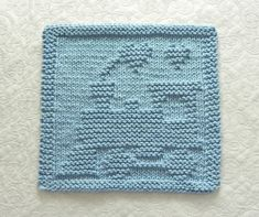 Blue TRAIN Baby Wash Cloth. Hand Knitted 100% by AuntSusansCloset