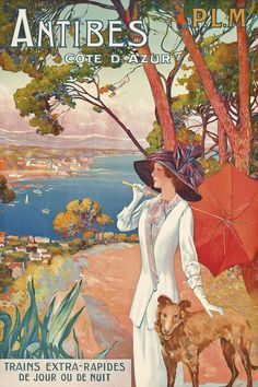 The artwork Poster advertising travel to the Antibes, Cote d'Azur, with the French railway company P.M - David Dellepiane we deliver as art print on canvas, poster, plate or finest hand made paper. Vintage French Posters, Vintage Travel Posters, Vintage Art, Poster Vintage, Tourism Poster, Travel Ads, Retro Poster, Railway Posters, Kunst Poster