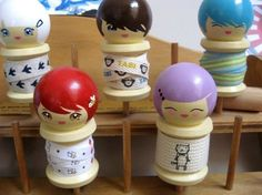 DIY Kokeshi Spool Doll by Wunderkind on Etsy