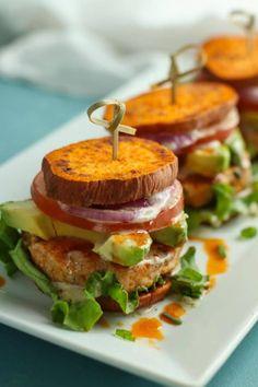 Buffalo Chicken Sliders - The Real Food Dietitians Sweet Potato Buns, Sweet Potato Slices, Paleo Recipes, Real Food Recipes, Chicken Recipes, Dinner Recipes, Yummy Food, Snacks Recipes, Burger Recipes
