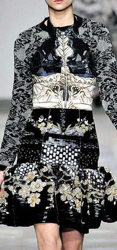 High contrast printed dress with ornate floral & lace patterns; bold print pattern fashion // Mary Katrantzou