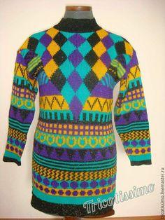 Купить Туника Марокко, ручная работа - фиолетовый, орнамент, зеленый цвет, черный цвет