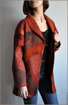 """Купить Пальто """"Красная осень"""" - рыжий, абстрактный, пальто, пальто женское…"""
