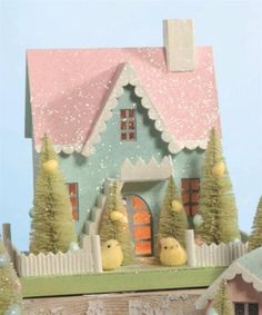 Bethany-Lowe-Easter-Spring-Cottage-10-Mantel-Village-LG2605-House-Pink-Roof-New
