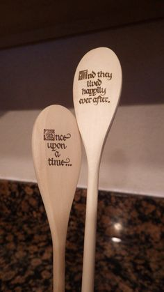 Solid Wood Spoon with Woodburning Design Once by ChicadeeCreates