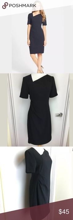 NWT T Tahari Marianna Dress Navy Blue New with tags T. Tahari Marianna dress in navy blue. Asymmetrical neckline and soft pleats gathered to one side. T Tahari Dresses