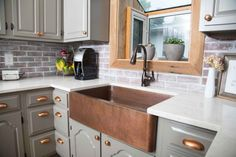 If you are thinking of remodeling your kitchen, take a page from Jena's book and do your homework first. Jena, a Sinkology customer and crazy successful marketing professional, spent a lot of time planning, designing, rethinking, and researching before she took on her kitchen redesign. Throughout her process, she landed on putting a new copper farmhouse...
