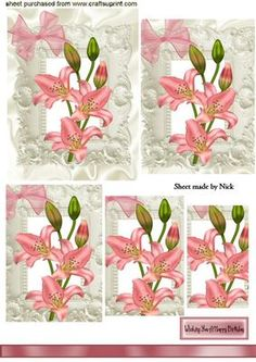 PINK LILLY IN ORNATE FRAME Pyramids on Craftsuprint - Add To Basket!