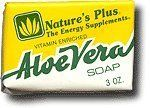 Nature's Plus - Aloe Vera Soap, 3 oz boxes by Nature's Plus. $0.01. Does Not Contain: Detergent. Serving Size - c. Aloe Vera Soap by Nature's Plus 3 oz Bar Nature's Plus vitamin-enriched Aloe Vera Soap is 100 natural and contains Glycerin Vitamin E (1 000 IU Vitamin A (1 000 IU) and Vitamin D (100 IU) in an Aloe Vera Gel base. Aloe Vera Soap contains no detergents and is biodegradable. This unique beauty bar has a clean and tangy lemon fragrance.
