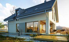 Wygodny 3 - wizualizacja 2 - Nowoczesne projekty domów z garażem dwustanowiskowym i dachem dwuspadowym