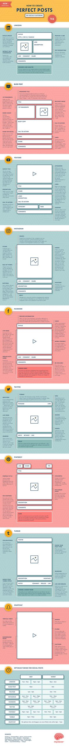 Social Media Marketing: Create Perfect Social Media Posts with the tips on this Infographic!