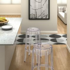 With its transparent construction & UV protection, the Anime transparent bar stool is the essence of modern. Buy modern bar stools online from Modern Digs! Acrylic Bar Stools, Backless Bar Stools, Rustic Kitchen Cabinets, Modern Bar Stools, Home Decor Kitchen, Kitchen Ideas, Kitchen Stuff, Cool House Designs, Bar Chairs