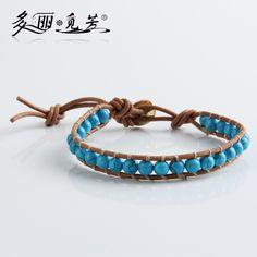 Main tissé naturel turquoise pierre 1X WP bracelet hommes et femmes dame unisexe cadeau bleu blanc dans Bracelets à brins de Bijoux et accessoires sur AliExpress.com | Alibaba Group