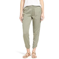 Women's Rvca Daydream Twill Crop Pants (€51) ❤ liked on Polyvore featuring pants, capris, smoke green, white trousers, twill trousers, cropped capri pants, wet look pants and herringbone trousers