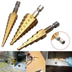 3pcs 3-12 / 4-12 / HSS con recubrimiento de titanio paso brocas cono 4-20MM establecer vástago hexagonal