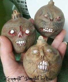 Zornaments for your Halloween or Christmas tree Dark Christmas, Xmas, Christmas Tree, Christmas Ornaments, Zombie Pics, Box Store, Toy Boxes, Zombies, Halloween Crafts