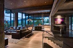 Open floor plan enhances this modern mountain home - Modern Mountain Homes to Take You Away