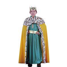 DisfracesMimo, disfraz de rey mago melchor niño deluxe varias tallas. Es perfecto para celebraciones navideñas, tales como belenes vivientes,desfiles o las tradicionales representaciones escolares.Este disfraz es ideal para tus fiestas temáticas de disfraces reyes magos para niños.
