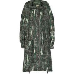Stella McCartney Hooded jacquard parka ($869) ❤ liked on Polyvore featuring outerwear, coats, green, stella mccartney, toggle coats, hooded coat, green parka coat and green hooded parka