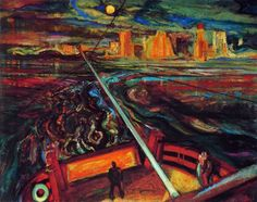 """Night Ferry by Frederick H Varley, Philip Surrey had moved to Montreal in the spring of and Fred visited him during the Easter holidays. His visit resulted in hours of enthusiasm"""" and a 34 x 40 canvas, Canadian Group of Seven. Tom Thomson, Emily Carr, Group Of Seven Artists, Group Of Seven Paintings, Canadian Painters, Canadian Artists, English Artists, Needlepoint Patterns, Counted Cross Stitch Patterns"""