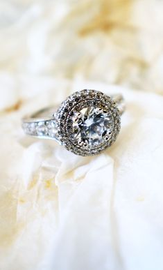 A white gold double halo engagement ring Wedding Engagement, Wedding Rings, Engagement Rings, Dream Ring, Wedding Wishes, Here Comes The Bride, Diamond Are A Girls Best Friend, Beautiful Rings, Just In Case