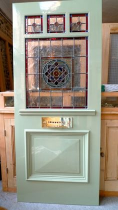 Stained Glass Front Entry Door With Side Panels Stained