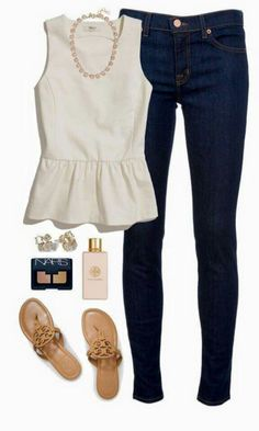 Yes! To the top and the dark jeans! The TB sandals make the dressy top more casual, and can dress it up with a wedge. Dark Jeans Outfit, Jeans Outfit Summer, Summer Outfits For Moms, Peplum Shirts, Fix Clothing, Jean Outfits, Cute Outfits, Casual Outfits, Dark Skinny Jeans