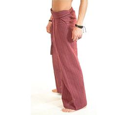 Striped  Red Thai Fisherman Pants Cotton 100 Traditional Tailoring Style Yoga Pants  Relax Pants  Clothes Thai Summer ** Learn more by visiting the image link.