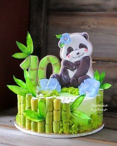 Panda and bamboo cake Fondant Cakes, Cupcake Cakes, Cookie Cakes, Panda Cakes, Hand Painted Cakes, Icing Techniques, Cute Desserts, Drip Cakes, Cookie Designs