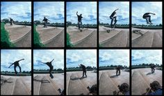 This is an example pictographic sequence. In viewer is taken on a journey through the series of ten photographs. Each photograph is a different image of a man with his skateboard, however when these ten images are placed together next to one another they are able to depict a story, and in this particular case illustrate the man with a skateboard attempting a skate board trick.
