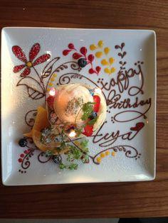 夙川「ヨーキーズブランチ」でちょっとリッチなブランチはいかが? - macaroni Chocolate Drawing, Chocolate Art, Birthday Plate, Happy Birthday, Luxury Food, Fruit Kabobs, Dessert Decoration, French Pastries, Plated Desserts