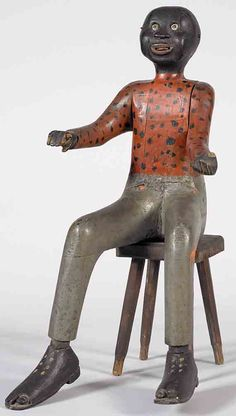 Antiques & Fine Art - Hart, Otto and Susan - Seated Black Folk Art Figure