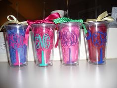 South Carolina Palmetto Tree & Moon Monogrammed Acrylic Cups. $10.00, via Etsy.