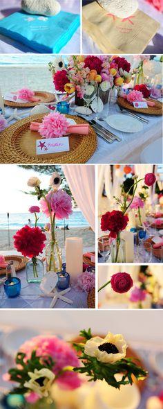 Colorful beach wedding ideas.