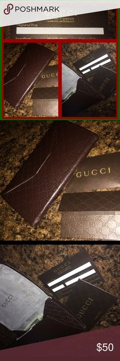 GUCCI AUTHENTIC ❤️💚 GUCCI ❤️💚AUTHENTIC CASE😘NEVER USED & COMES WITH CERTIFICATE OF AUTHENTICITY💚THE COLOR IS BROWN...CAME WITH GLASSES & I NEVER USED IT😉I ALWAYS THOUGHT IT WAS WAY TOO BEAUTIFUL TO BE USED AS AN EYEWARE CASE😁...IT CAN BE USED IN SO MANY OTHER WAYS❤️💚💎... IT CAN ALSO BE SNAPPED CLOSED IN TWO DIFFERENT PLACES...😍TURING IT INTO A HARD TRIANGLE CASE❤️FROM A FLAT ENVELOPE STYLE WALLET💚CAN ALSO BE USED TO HOLD JEWELRY OR EVEN COSMETICS😘THIS CASE=❤️💚❤️💚😘 Gucci…